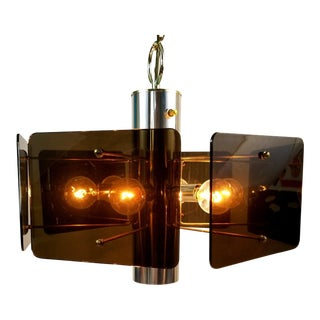 Mid Century Modern Hexagon Smoked Lucite Swag Ceiling Light Fixture