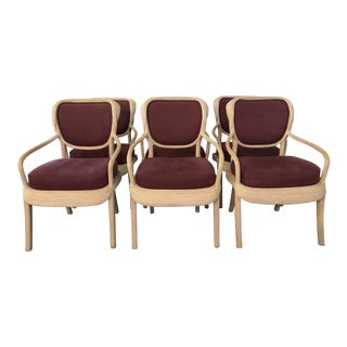 1980s Boho Chic Betty Cobonpue Reed Rattan Arm Chairs - Set of 6 For Sale