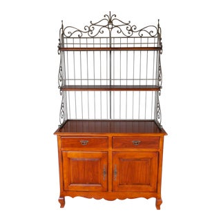 HICKORY CHAIR CO. French Style Cherry Sideboard & Wrought Iron Bakers Rack