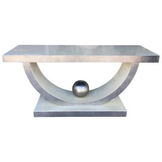 Postmodern Glamorous Silver Leaf Vintage Console Table For Sale