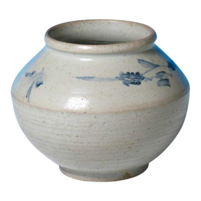 Antique Korean Blue and White Ceramic Storage Jar For Sale