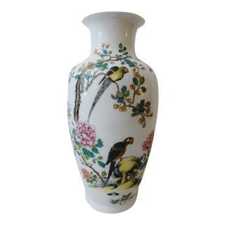 Famille Rose Porcelain Vase w/Parrots