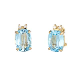 Vintage Swiss Blue Topaz Diamond 18k Yellow Gold Oval Stud Clip on Earrings For Sale