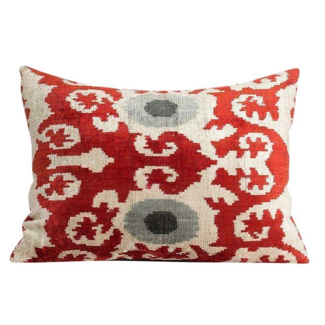 Multi-Colored Handmade Silk Velvet Ikat Pillow - Image 1 of 2