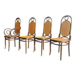 Vintage Cane Bentwood Thonet Tall Back Dining Chairs - Set of 4 For Sale
