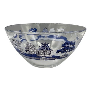 1960s Johnson Brothers Willow Blue Glass Serving Bowl For Sale