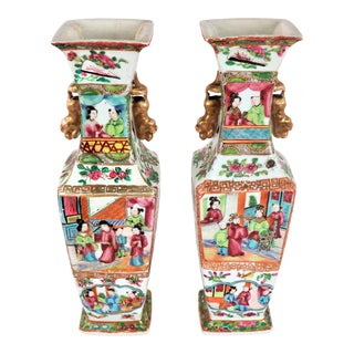 Mid 19th Century Chinese Famille Rose Vases - a Pair For Sale