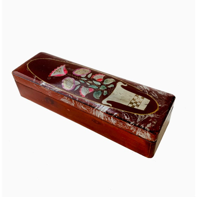 Vintage Lacquer Gloves Jewelry Box Hand Painted For Sale - Image 9 of 9