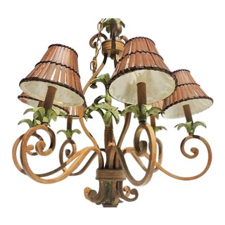 1990's Vintage Palm Beach Hollywood Regency Palm Tree Chandelier For Sale