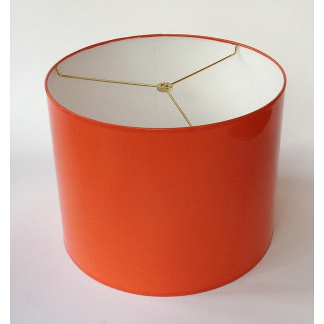 Medium High Gloss Orange Drum Lamp Shade For Sale - Image 6 of 6