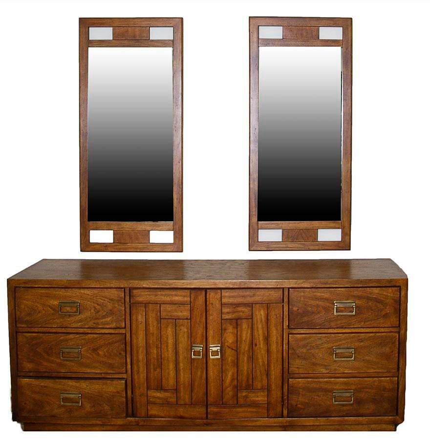 Woodbriar By Drexel Campaign 9 Drawer 2 Door Dresser With Wall Mirrors