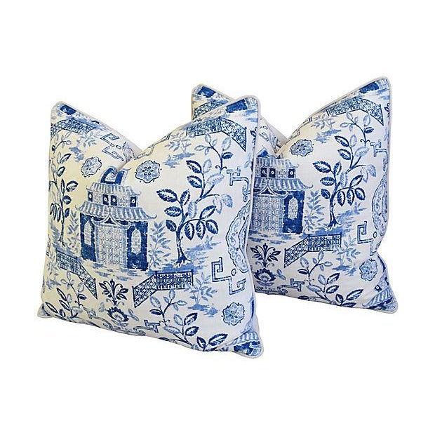 "Custom Blue & White Chinoiserie Feather/Down Pillows 26"" Square - Pair For Sale In Los Angeles - Image 6 of 13"