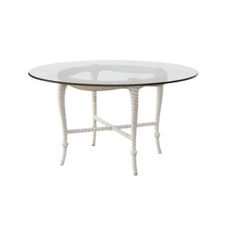 Round Faux Rope Dining or Center Table With Glass Top For Sale