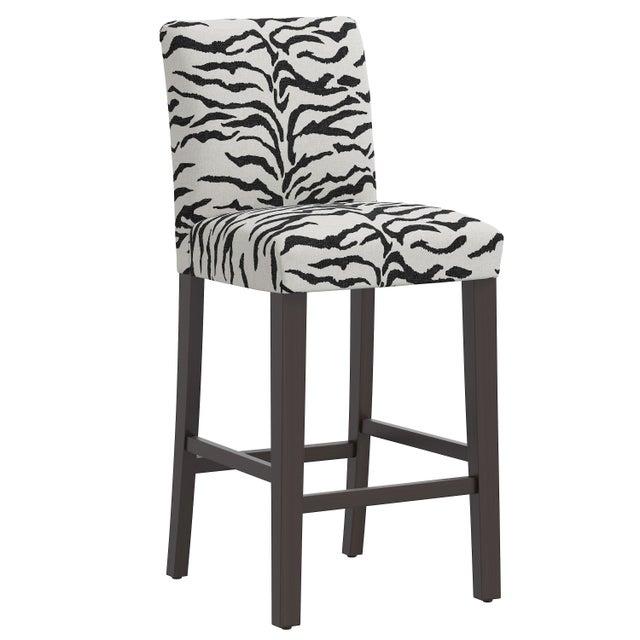 Gray Bar stool in Linen Zebra Cream Black For Sale - Image 8 of 8