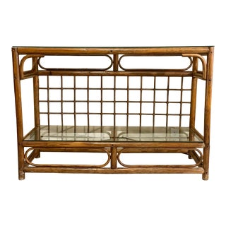 Hollywood Regency Rattan Console Table W/ Glass Top and Shelf For Sale