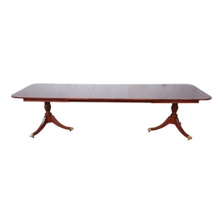 Kindel Furniture Banded Mahogany Double Pedestal Extension Dining Table For Sale