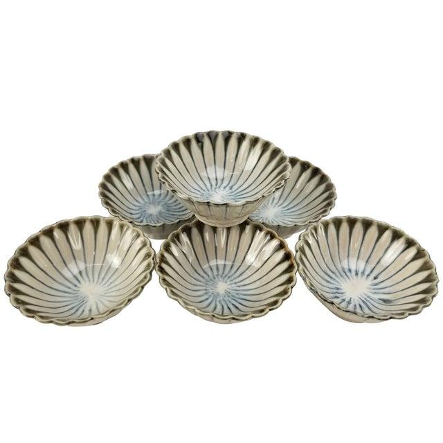 Vintage Japanese Soy Sauce Bowls - Bone China Hand Made Drip Glaze Set of (6) Bowl For Sale - Image 10 of 10