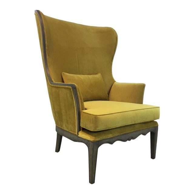 Modern Chartreuse Velvet Wingback Chair For Sale