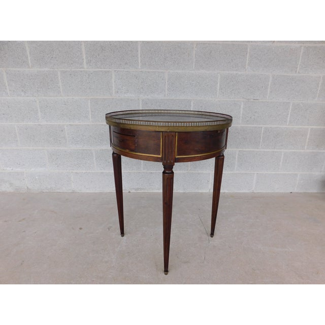 """Antique Louis XVI Style Marble Top Bouillotte Table 24.5""""w For Sale - Image 12 of 12"""