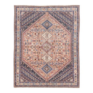 1940s Shiraz Rusty Pink and Navy Handmade Wool Rug- 6′8″ × 7′2″ For Sale