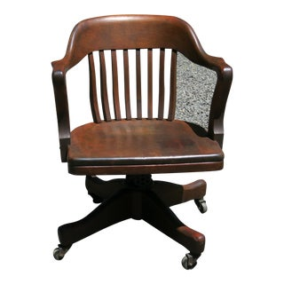 1920s Antique Bankers Swivel Chair For Sale