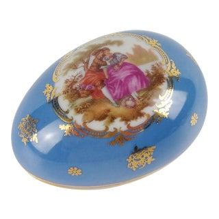 Vintage Limoges France Egg Shaped Trinket Box For Sale