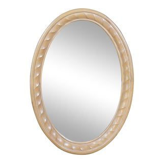 Saratoga Collection Natural Oak Oval Braided Rope Design Vanity Wall Mirror For Sale