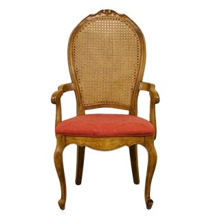 Late 20th Century Vintage Bernhardt/ Hibriten Furniture Cane Back Dining Arm Chair For Sale
