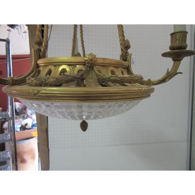 Antique French Turn of the Century Cut Crystal Bowl Bronze Pendant Light For Sale In Philadelphia - Image 6 of 8