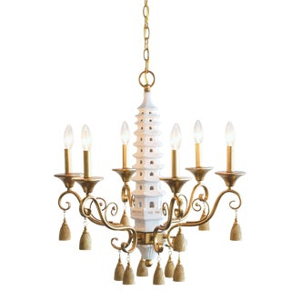 Madcap Chinoiserie Pagoda Cottage Porcelain/Metal Chandelier With Tassels For Sale