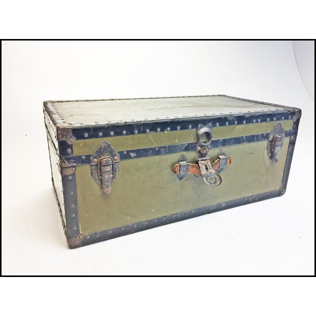 Vintage Industrial Green Us Military Foot Locker Trunk For Sale - Image 13 of 13