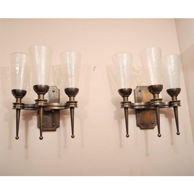 Brown Pair of Monumental 1940s Wall Sconces For Sale - Image 8 of 8