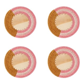Round Sisal & Wood Stripe Coasters in Caramel, Peony & Blush - Set of 4 For Sale