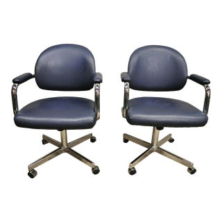 Vintage Chromcraft Mid Century Blue Vinyl Rolling Office Desk Chairs - a Pair For Sale