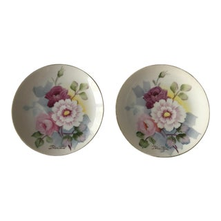 Mid Century Vintage Small Hand Painted Plates - a Pair For Sale