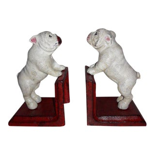 Rustic Caxt Iron Bull Dog Bookends - A Pair For Sale