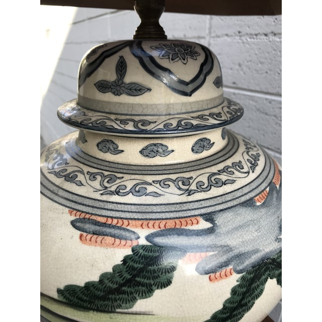 Asian Antique Rare Chinoiserie Hand Painted Ginger Jar Lamp For Sale - Image 3 of 13