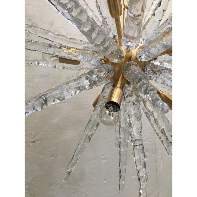 Gold Murano Glass Sputnik Metal Frame Gold Brushed Chandelier For Sale - Image 8 of 12
