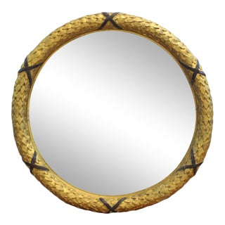 Empire Style Carved GIltwood Round Wall Mirror For Sale
