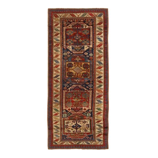 Antique Kazak Blue and Beige Geometric Wool Runner- 3′3″ × 7′10″ For Sale