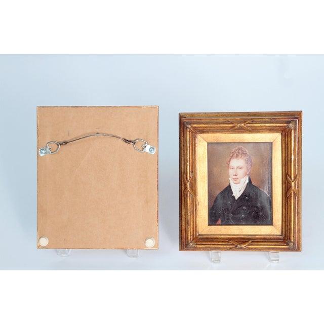 Pair of Well-Painted Portrait Miniatures / Handsome English Regency Gentlemen For Sale - Image 11 of 13