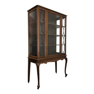 Antique Walnut Queen Anne China Curio Display Cabinet on Casters For Sale