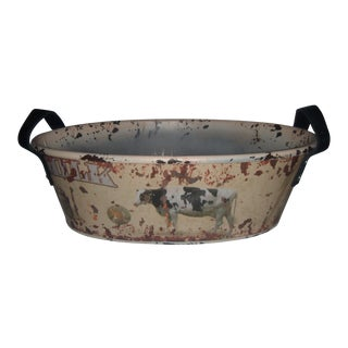 Decorative Milk Cow Container with Leather Handles For Sale