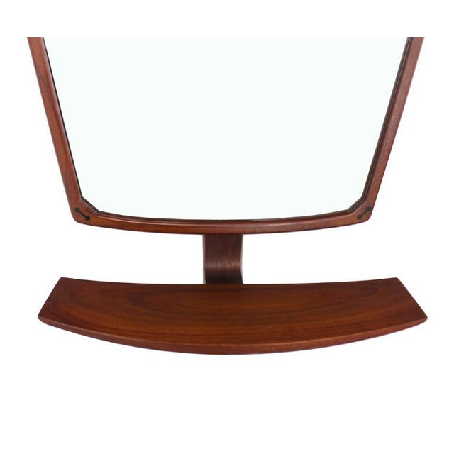 Brown Danish Mid-Century Modern Adjustable Wall Mirror with Shelf For Sale - Image 8 of 9