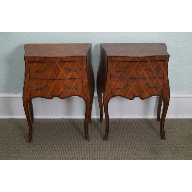 Vintage Italian Bombe Walnut Commodes Chests - Image 2 of 10