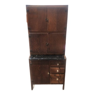 "1930s Traditional London's Antique ""Easiwork"" Dark Wood Kitchen Cabinet For Sale"