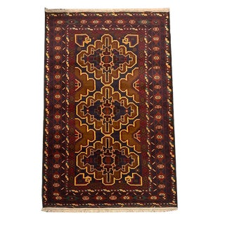 Vintage Traditional 'Baluch' Brown and Red Medallion Pattern Small Area Rug - 3′10″ × 6′9″ For Sale