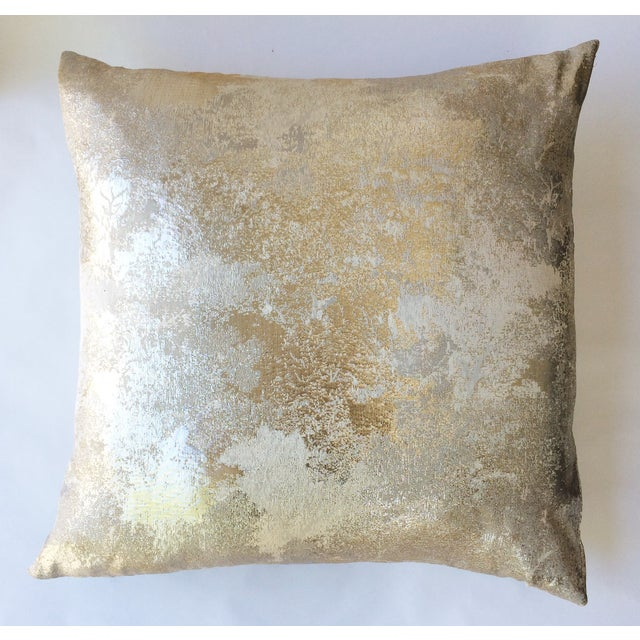 Square Feathers Gold Metallic Pillow - Image 3 of 3