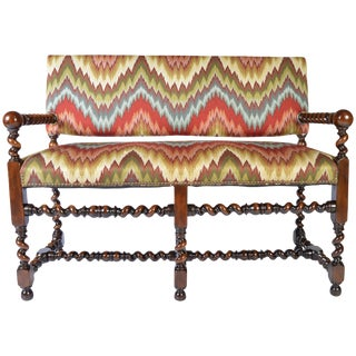 Louis XIII Walnut Barley Twist Banguette Sofa Settee For Sale
