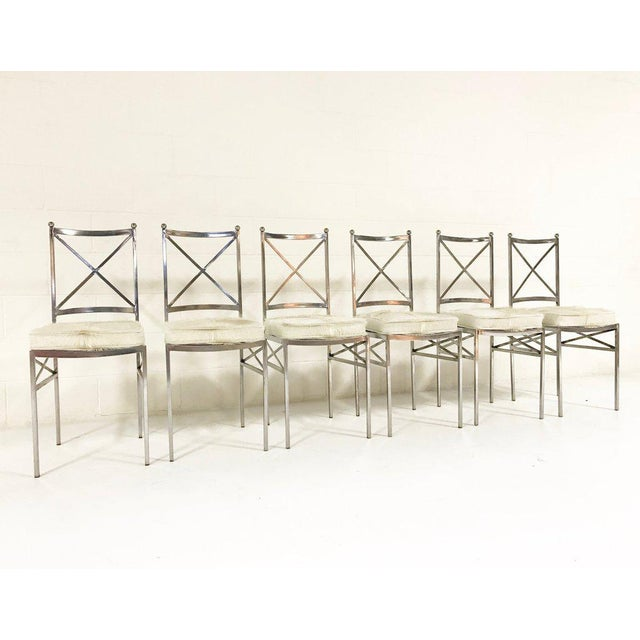 Mid 20th Century Set of 8 Mid-Century Swedish Polished Steel Dining Chairs With Custom Ivory Cowhide Cushions For Sale - Image 5 of 10